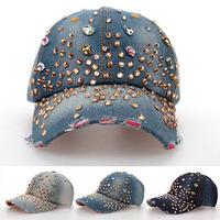 2014 women Diamond washed denim baseball cap girls diamond hat fashion baseball caps female snapback hats drop ,free shipping