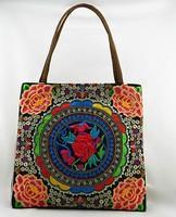 National trend embroidery bags double faced embroidered flower vintage Women shoulder bag big cloth Handbag Shopping Bag