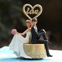 Gift back to back love music box wedding souvenir gifts rotating girls music box romantic gifts