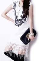 2014 Summer Fashion Vintage Baroque Beading Tassel Sleeveless Basic Slim Hip Slim One-piece Dress Summer Dress 2014 Dropshipping