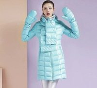 Hot sale winter female duck hoody thickening medium-long slim down coat female fashion designer jacket with scarf WC1325