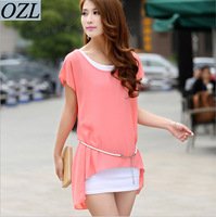 Wholesale 2014 summer new large size Korean women loose chiffon dress two-piece dress with belt 279