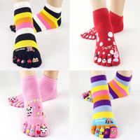 Five fingers toe socks female cartoon 100% pure cotton breathable anti-odor new arrival