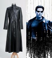 Hot Sale Matrix Neo Long Black Leather Coat Costume Cosplay