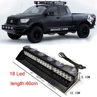 "18"" White Red Blue Led Police Car dash light bar EMS Warning Flash fog light Daytime strobe lamp with Multi Flashing Patterns"