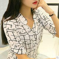 2014 print pattern loose casual short-sleeve shirt female shirt chiffon shirt  free shipping