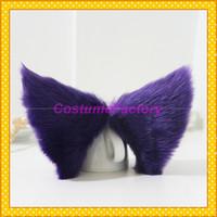 Free Shipping Cute Maid Cosplay Party Hair Clip Purple Headwear,Fox Cat Ears,100g/pair