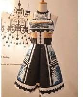 2014 Sexy Vintage Stamps Print Slim Waist Sleeveless Ball Dress Summer Girl Dress High Quality Factory Dropshipping