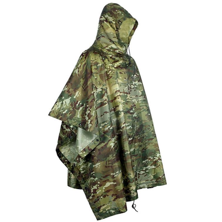 Camouflage raincoat jungle multifunctional poncho CP multicam military tactical rain poncho (camping mat/rain poncho/camo net)(China (Mainland))