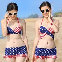 new sexy 2014 swimsuit american flag swimwear push up Skirted Bikinis