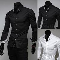 Free Shipping 2014 Mens Slim fit Unique neckline long Sleeve Shirts Mens dress shirts camisa social roupas masculina men shirt