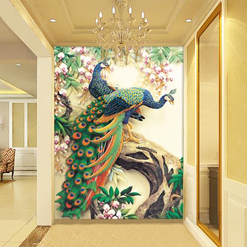 Online get cheap peacock wall murals for Cheap wall mural wallpaper