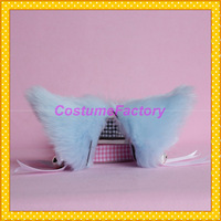 Free Size Lovely Maid Party Hair Clip Headwear,Sky Blue Fox Ears With Bell,100g/pair