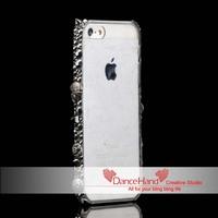 Bling Punk Metal Skull Crystal Frame Bumper Transparent Case For iPhone 4 4S 5 5S 5C
