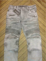 High-end & boutique  Men's jeans knee folds