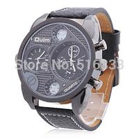 Hot Olum Men's Wrist Watch Military Style 2 Time Zones Quartz Analog PU Leather Band Free Shipping