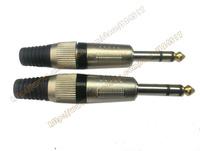 "Free shipping  (10pcs/lot)  1/4"" Stereo MIC plug 6.35 MM MALE JACK Guitar connectors"