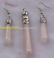 Wholesale - Details about Natural Pink Quartz Crystal Column Gemstone Pendant & Earrings one Set