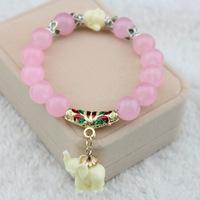 Pink 1 circle Natural Crystal Quartz Thai elephant Lucky security and peace opal bracelet Pulseiras bijoux Schmuck  joyas