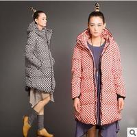 2014 Fashion Women Winter warm Down Jacket Thick Polka Dot coat Medium-long Duck Down Parkas Plus Size S-5XL Free shipping,J255