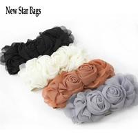 Waistband Elastic Belt Waist Multicolor Fashion vintage lady's Cute Flower Double Rose Buckle Style 7 Colors H065E