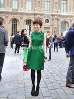 Size S,M,L,XL,2XL,3XL,4XL Women Sleeveless Green Straight Celebrity Dress with Pocket Free Shipping 02001