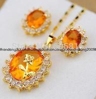Details about 14k Gold filled orange Topaz & CZ Stone Necklace & Earring set
