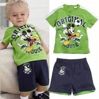summer 2014 children's clothing wholesale kids sports leisure suits boymickey mouse suit 5sets/lot