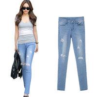 2014 Summer New Korean Fashion Denim Jeans Woman Slim Low Waist Hole Ripped Vintage Capris Beggar Pencil Pants 1461# S/M/L