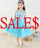 2014 new summer girls dress frozen elsa longsleeve light blue dress, mix any 3 lots our store by FEDEX FREE to RO/AU/EU/US/CA