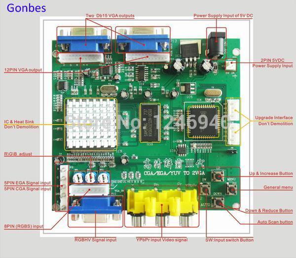 6 pcs CGA TO VGA Converter video game machine,conversion CGA/EGA/YUV to VGA (1 VGA output)(China (Mainland))