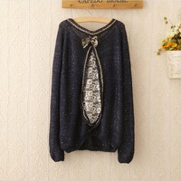 2014 New Women Bowknot Sweater Long Sleeve Oversize Pullovers Lady Brand Sweater  4207