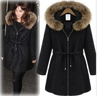 2014 new Korean winter long section woolen jacket hooded fur collar wool coat big yards thick