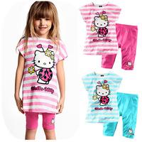 2014 summer children's clothing wholesale hello kitty cartoon fashion children suit girls leisure cotton stripe suits 5sets/lot