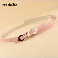 Multi-layer multicolour bow thin belt neon color candy color japanned leather belt strap female  H067E