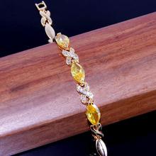BB1633 BRACELET sparsity 19cm Honey Citrine 925 Silver 18K Gold Filled fashion jewelry