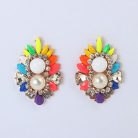 2014 New Arrvial Big Fashion Shourouk Acrylic & Crystal Stud Earrings Fake Pearl Elegent Jewelry KK-SC605 Retail