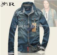 New Arrivel Discount 100% Cotton Men Jeans Shirt Men Casual Shirt Slim Fit Long-Sleeves Denim Clothing