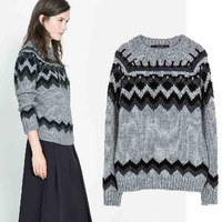 European style 2014 women's sweater new fashion warm lady pullover knitted sweaters high quality long sleeve 8629