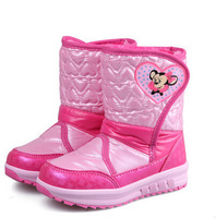 Children's shoes 2014 winter fashion girls mickey mouse snow boots PU leather waterproof plush warm flat cotton-padded shoes