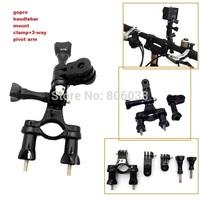 Gopro Mount Accessories Go Pro Bike Holder Adapter Set Handlebar Clamp+3-Way Pivot Arm for Gopro Go Pro Hero 1 2 3 3+ Cameras