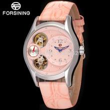 Famous brand FORSINING FSL8014Q3S32014 new Quartz silver ladies wristwatch tourbillon blue leather strap shipping free