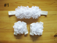 Free Shipping(30set/lot)Baby Barefoot Sandals With Triple Chiffon Flower  Headband Photo Props
