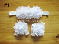 Free Shipping(30set/lot)Baby Barefoot Sandals With Triple Chiffon Flower  Headband Photo Props