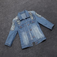 2014 new autumns fashion woman lady destroyed denim short jeans jacket tops outwear coats with rhinestones holes hot saleM05827