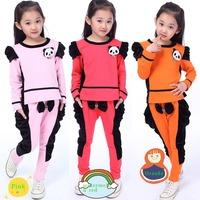 Retail 4-13Y beauty baby girl clothing set New 2014 Autumn/Spring Korean fashion 2pcs set good quality kids sets(t-shirt+pants)