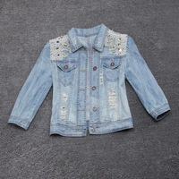 2014 new women ladies short slim destroyed beaded pearls studs jeans denim jacket coat with rhinestones tops with holes-M05828