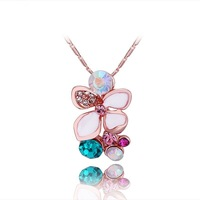 Austrian crystal jewelry necklace 18k rose gold flower jewelry high quality gifts N478 free shipping