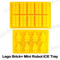 4pcs/lot Silicon Chocolate / Ice Brick Cube Trays Mold Lego Shape and MINI Robot Bar Party Frozen (LGRBICETRAY-4)