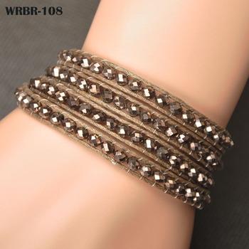 Оптовая продажа цена подарок для женщин DIY кожаный браслет 4 рядов браслет 6 мм ...